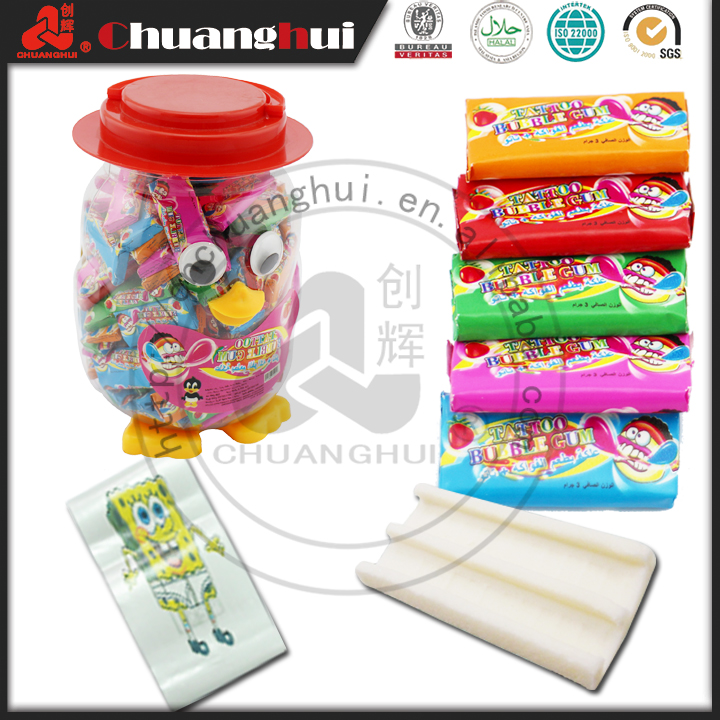 Made in China Good Taste 3g Penguin Jar Tattoo Bubble Gum