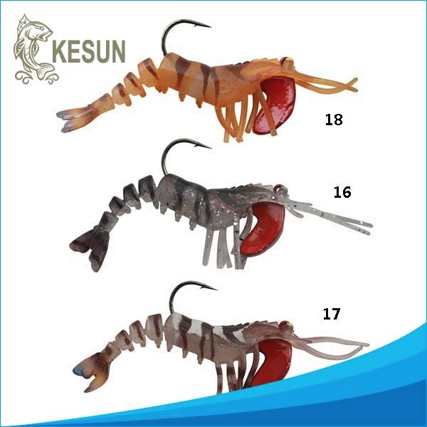 long must TPR material 100mm strong hook soft shrimp fishing lure