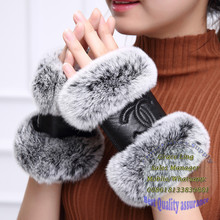 factory rabbit fur half fingers winter warm leather gloves wholesale fuzzy fur cuff fingerless gloves for women