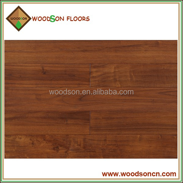 Handscraped Walnut Color Solid Asian Teak Parquet Flooring