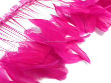 Stripped hot pink Coque Tails Fringe dyed rooster feather