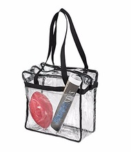 OEM wholesale NFL & PGA compliant clear stadium security zippered travel gym shoulder tote bag