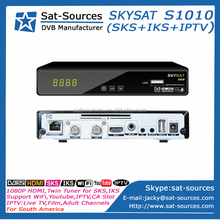 Hot Selling Twin Tuner Satellite Receiver SKYSAT S1010 with SKS IKS IPTV for Nagra3 South America better than Tocomfree S929