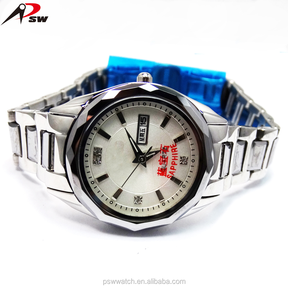 3atm Quartz stainless steel back watch Japan movement with date and week bracelet wrist watch