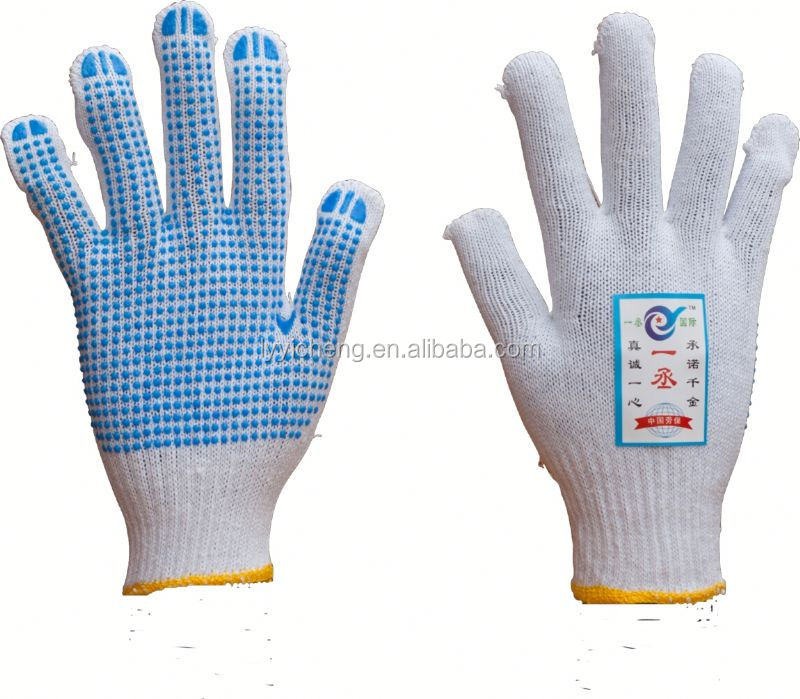7/10 gauge white knitted cotton gloves manufacturer in china/cotton spa gloves