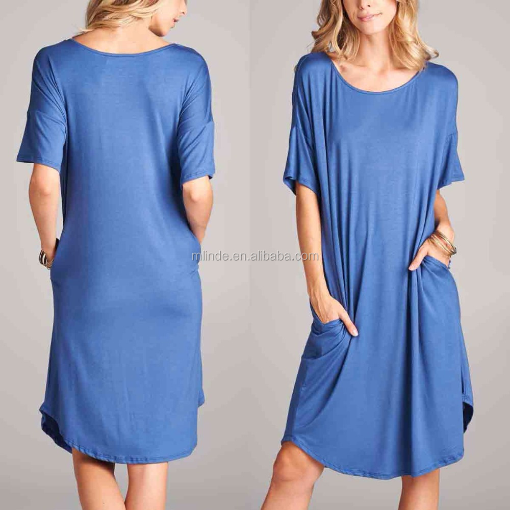 Latest Casual Dress Designs Blue Pocket Shift Dress Women Casual Dress Fashion Style Online Shopping for Clothing