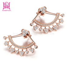 2015 fan style crystal 925 sterling silver gold plating stud earrings