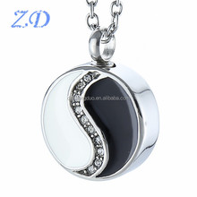 Chinese Style Round Cremation Urn Pendant for Ash Wholesale Stainless Steel Necklace Charm Urn with Black and White Enamel