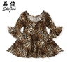 Shijun 2019 Kid Clothes Swing Flare Sleeve Spring Autumn Leopard Baby Girl Dress