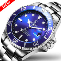 Luxury Brand Men's automatic Wrist Watch Silver Stainless Steel Band 3ATM Waterproof Military Sport Hot Sale Items