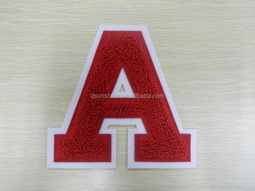 2015 Felt /Flocking Fabric Embroidered Chenille Patch of letter A