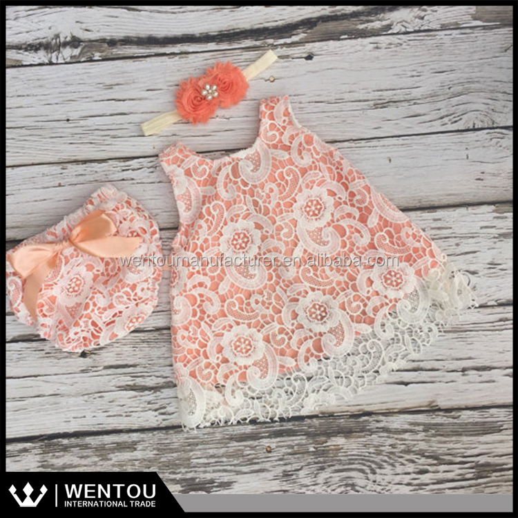 Hot Sell Ivory Lace Baby Girl Outfit