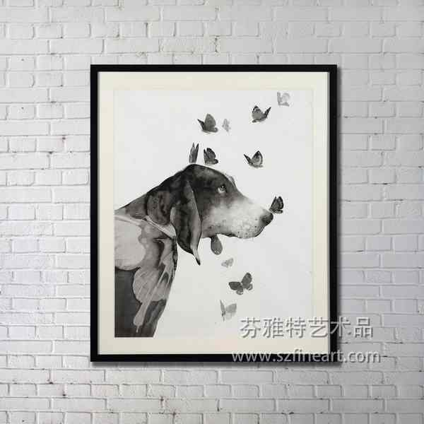 Original design Dog portrait painting black and white with high quality