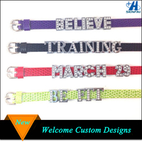 Made in china customized 8mm/10mm rhinestone slide letters leather bracelet