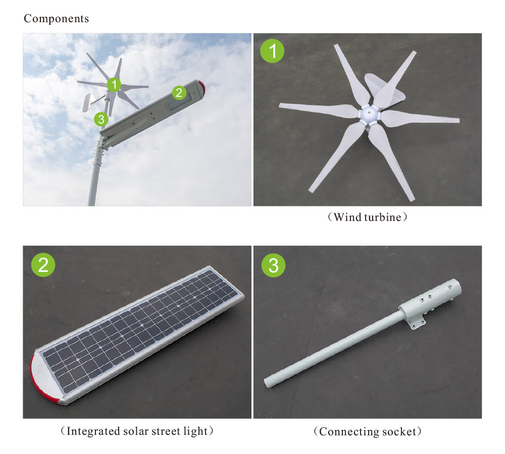 Factory direct sale 2018 new model solar wind hybrid street light integrated led light with automatic braking system