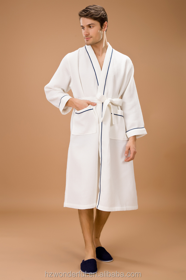 white kinomo waffle bathrobes for couples with soft cotton material/ wholesale kimono robe