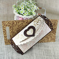 Wholesale Embossing Pattern Heart Shaped Wedding Wooden Invitation