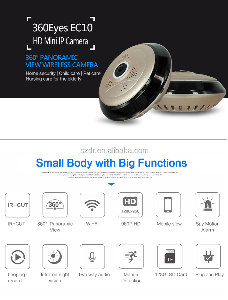 Hot New Products 360 Degree Motion Sensor Surveillance Full HD 960P Wireless <strong>WiFi</strong> P2P Network IP Security Camera