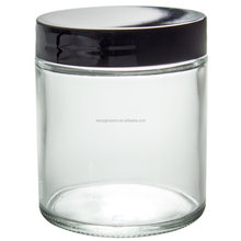 4oz 120ml clear thick glass straight sided jar with plastic lid