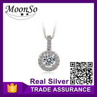 MOONSO princess cut classic pendant necklace in pure silver wedding engagement KX231S