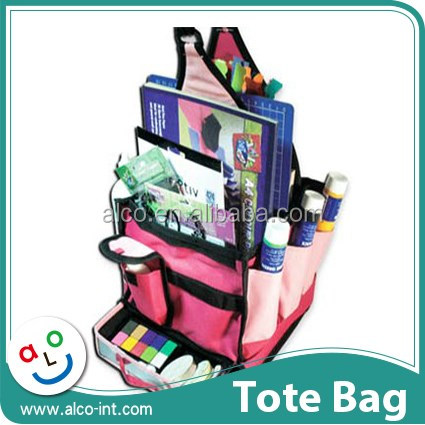 600D Polyester pink mini craft tote bag for scrapbook storage