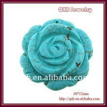 natural rose flower shaped jewelry blue turquoise carved stone rose pendant