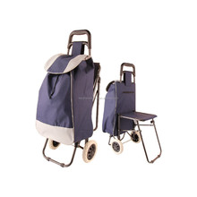 Travel Portable Oxford folding foldable shopping trolley bag with seat for Mom