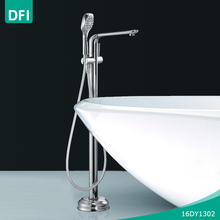 DFI Bathroom Hot Cold Mixer Water Tap Free Standing Floor Mounted Bath Tub Faucet