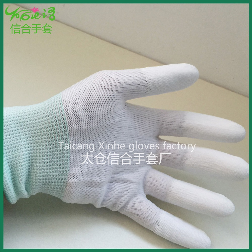 Industrial safety PU coated on two phalanx fingers anti-static polyester working gloves