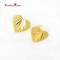 WesternRain New Arrival 2016 Jewelry,Wholesale Fashion Gold Plated 24K Lovely Heart Gold Stud Earrings For Women