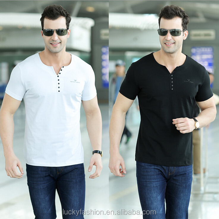 High end clothing mens short sleeve front open v neck t for High end mens shirts