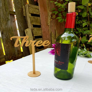 Gold wood wedding table number