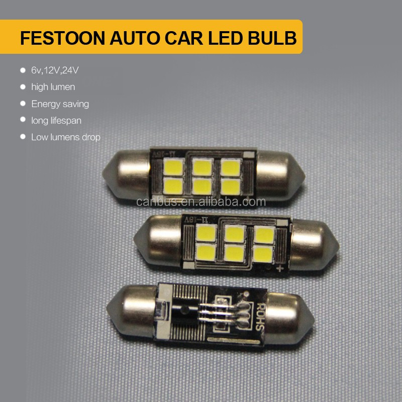 festoon 211 31mm36mm 37mm 38mm 39mm 41mm 42mm 44mm 12v 6pcs hight power smd led car Trunk lamp