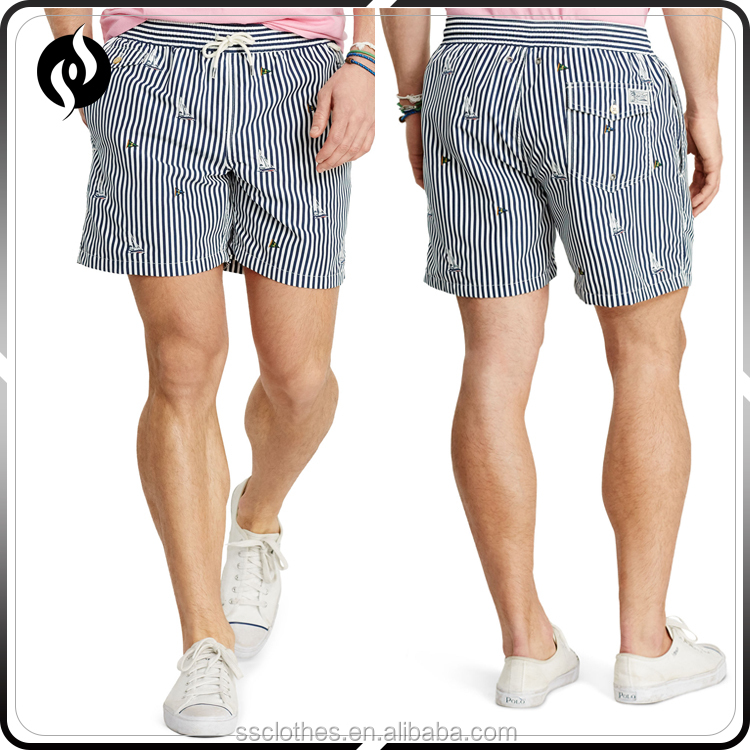 Latest design stripe Embroidery wholesale men running beach seersucker shorts