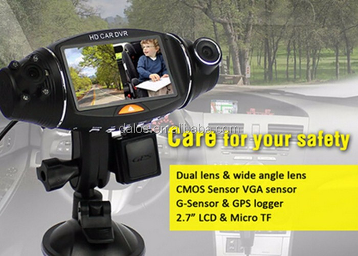 Car video camera recorder dual camera dash cam camara dual dvr para auto with gps