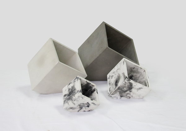 Wholesale interior enclined corner plain or bare mini concrete planters