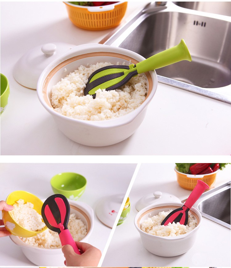 Multifunctional vertical not sticky rice creative rice spoon Rotating egg wash meters multi-purpose kitchen gadgets