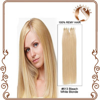 large stock cheap tape hair extensions silky straight #613 light blonde pu skin weft