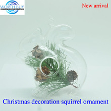Clear glass squirrel w/pine corn inside ornament for Christmas decoration, Christmas glass pendant