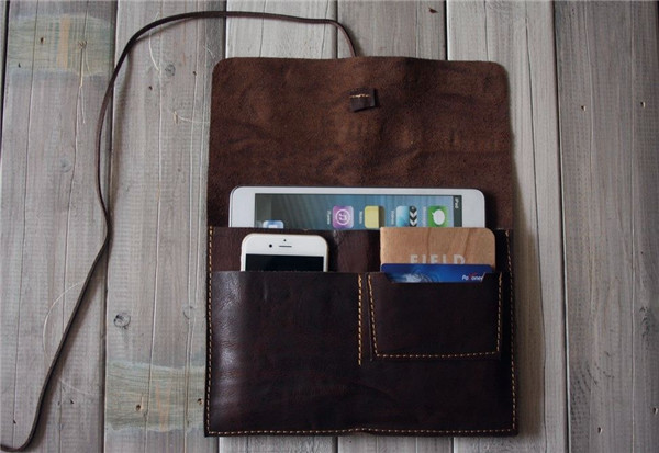 Genuine leather mobile phone case with passport holder sleeve for ipad