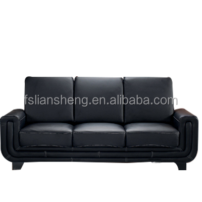 modern contemporary american style black genuine leather wing back sofa set ,couch set