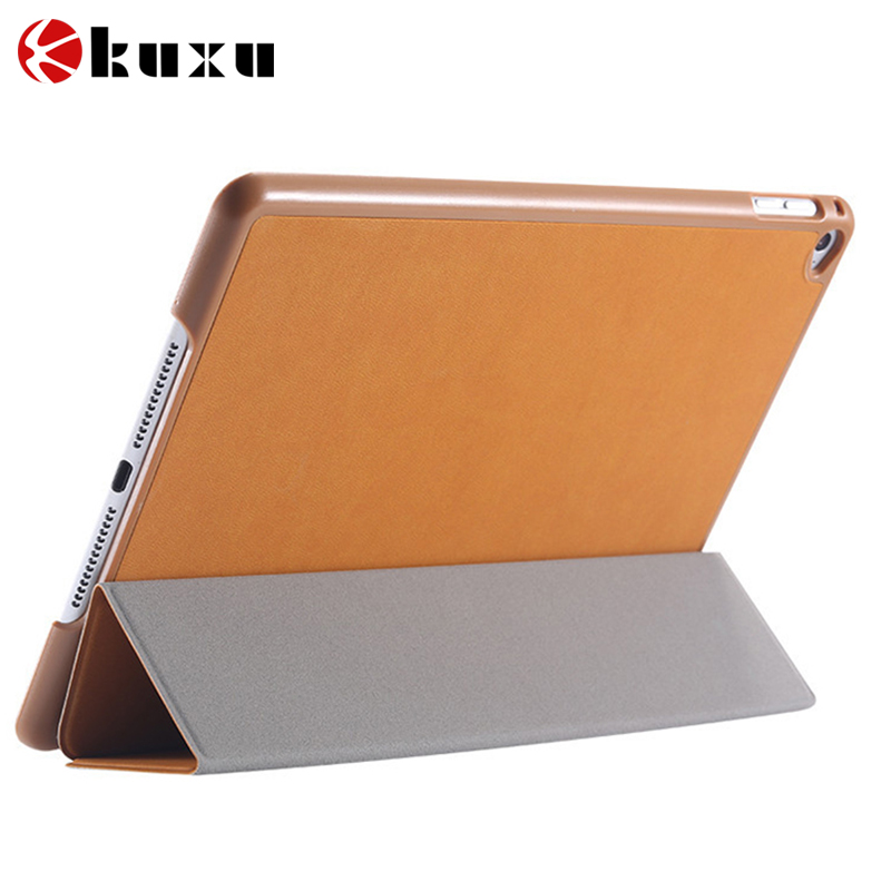 China manufacture Tri-folding Smart PU case ultra thin with back cover leather case for iPad mini 4