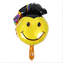 Graduation Cartoon Aluminum Foil balloon Party Favors Smile Face