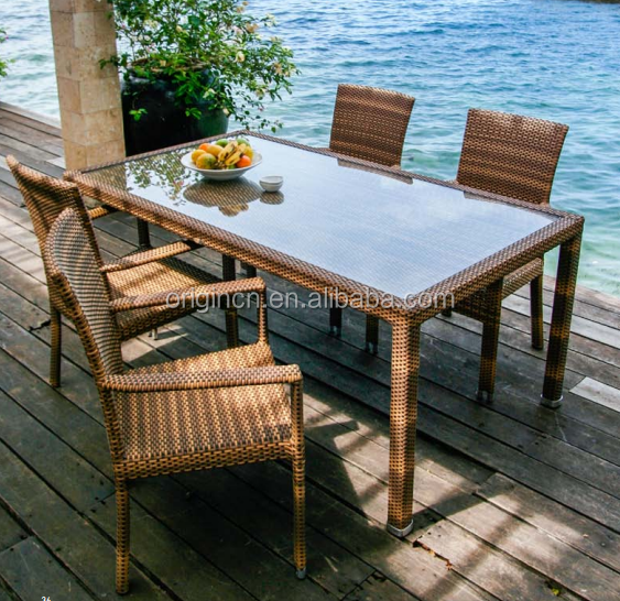 Holiday hotel outdoor patio dining table and chair rattan wicker bali style furniture