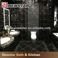 Hotel bathroom tiles black and gold flower marble