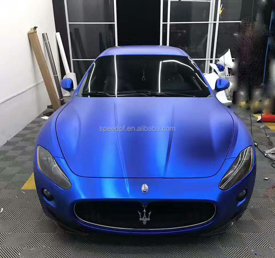 New fresh blue color pearl metallic chrome matte car sticker