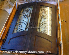 Best selling wrought iron double entry door with locks and thermos break
