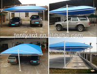 blue PVC car shed for 2 car