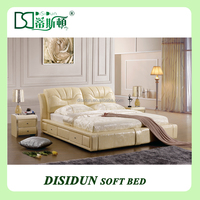 high quality hot sale leisure king size leather bed frame
