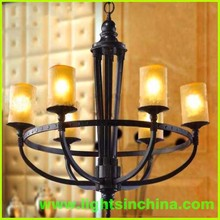 Modern Antique bronze chandeliers with frosted glass shade